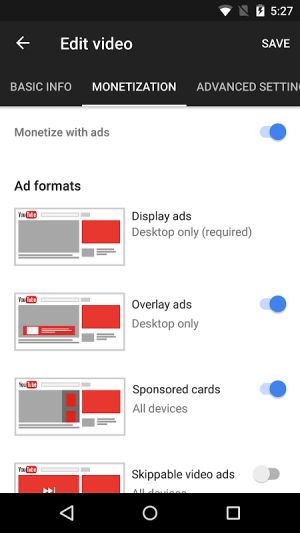Android YouTube Studio Screen 4