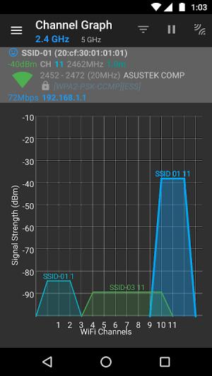 WiFi Analyzer (open-source) 2.1.1 Screen 2