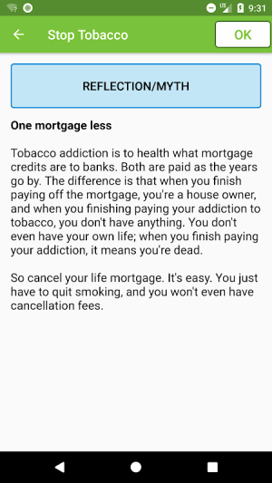Stop Tobacco Mobile Trainer. Quit Smoking App Free 1.6 Screen 2