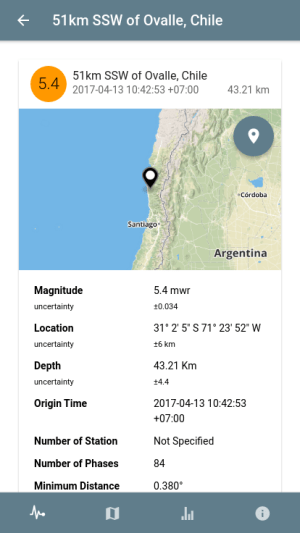 Android Lindu - USGS Earthquake Report Screen 1