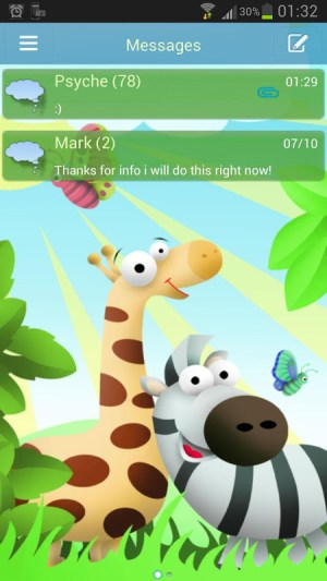 Android GO SMS Pro Theme animals Screen 1
