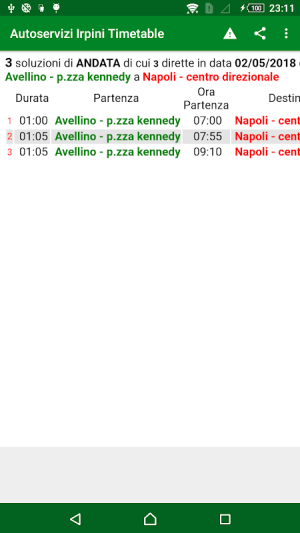 Android Autoservizi Irpini Timetable Screen 2