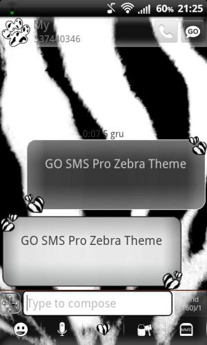 Android GO SMS Pro Zebra Theme Screen 2