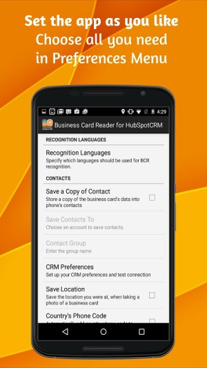 Android Business Card Reader for HubSpot CRM Screen 4