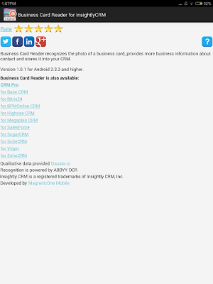 Business Card Reader for Insightly CRM 1.1.145c Screen 15