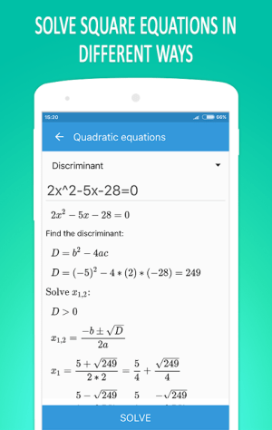 Android Math Equation Solver Screen 1