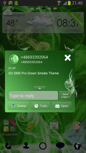 Android GO SMS Pro Green Smoke Theme Screen 2