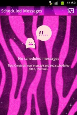 Android GO SMS Pro Theme Pink Zebra Screen 3
