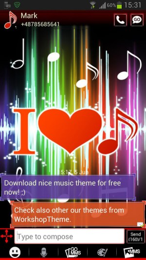 Android GO SMS Pro Theme 4 music Screen 1