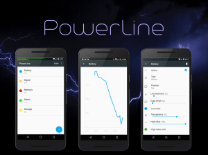 PowerLine 🔋 On screen battery, signal, data lines 5.9 Screen 1