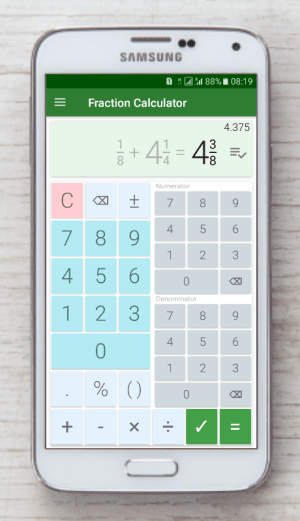 Android Fractions Calculator - detailed solution available Screen 5