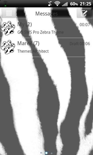 Android GO SMS Pro Zebra Theme Screen 1