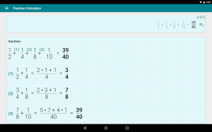 Android Fractions Calculator - detailed solution available Screen 8