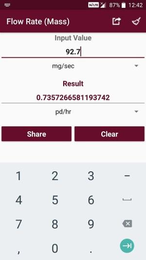 Android Fluid Mechanics Converter Screen 1