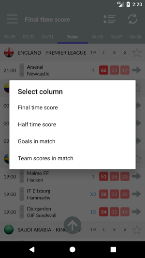 Soccer Predictions 2.2.3 Screen 3