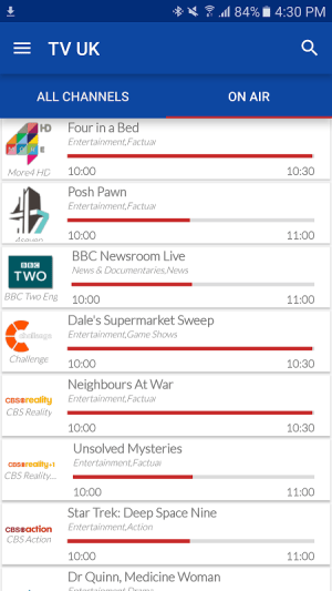 UK Live TV Guide 1.0 Screen 1