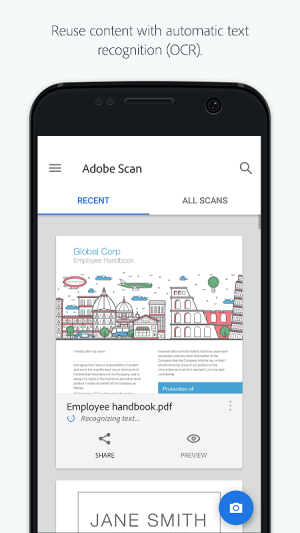 Adobe Scan: PDF Scanner, OCR 18.08.28 Screen 1