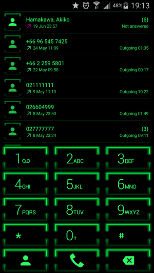 Theme for ExDialer Neon Green 2.0 Screen 1