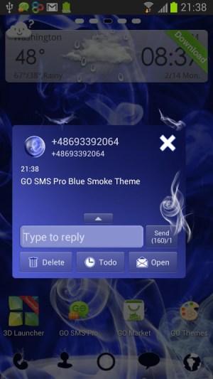 GO SMS Pro Blue Smoke Theme 2.0 Screen 2