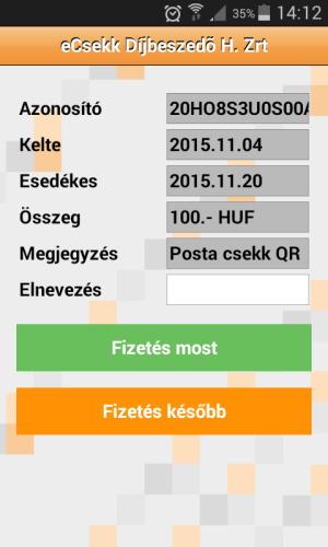iCsekk mobil fizetés 19.2.12 Screen 2