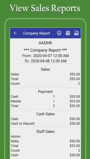 Restaurant Point of Sale | Cash Register - W&O POS 11.9.5 Screen 2