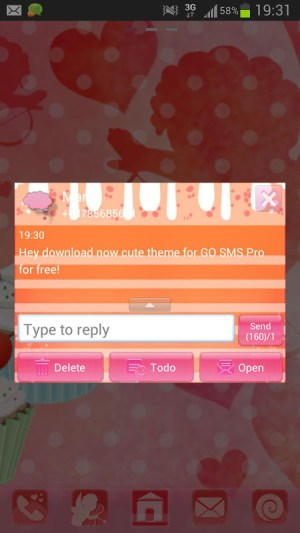 Android GO SMS Pro Theme cupcake heart Screen 3