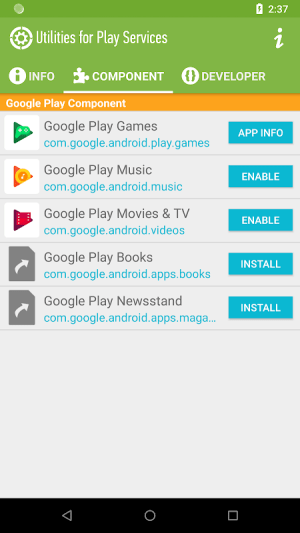 Utilities for Play Services 2.7.1 Screen 1