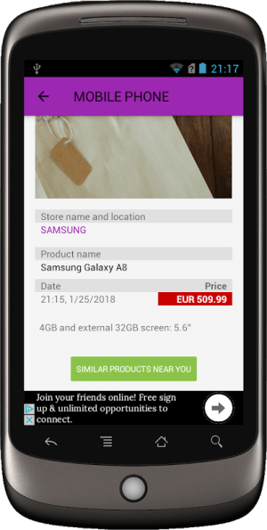Android Price Tag Screen 1