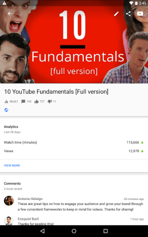 Android YouTube Studio Screen 11
