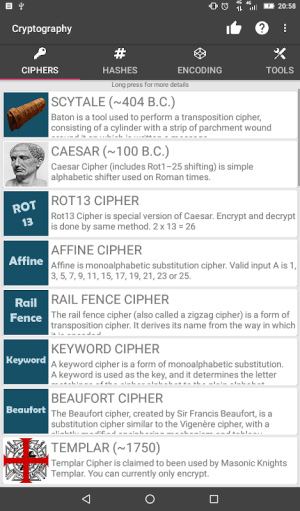 Cryptography (Collection of ciphers and hashes) 1.7.1 Screen 6