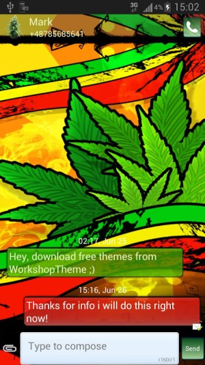 Android GO SMS Pro Theme marijuana Screen 1