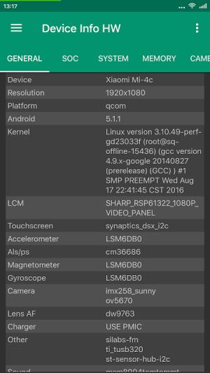 Device Info HW 4.25.2 Screen 1