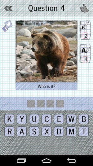 Android Guess The Animals: Quiz Screen 1