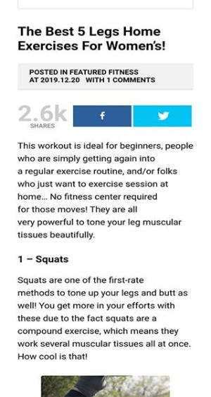 Android Legs Home Exercises Screen 1