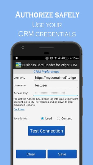 Android Business Card Reader for Vtiger CRM Screen 18