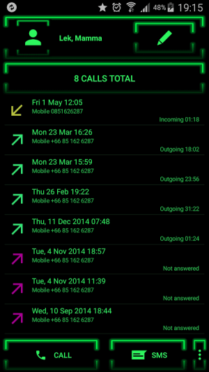 Theme for ExDialer Neon Green 2.0 Screen 5