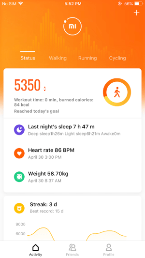 Mi Fit 3.4.6.2 Screen 2
