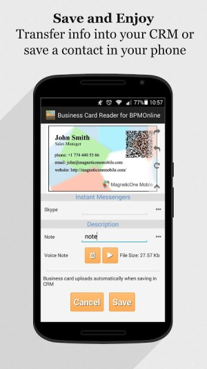 Android bpm'online CRM Business Card Reader Screen 14