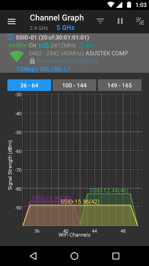 WiFi Analyzer (open-source) 2.1.1 Screen 3