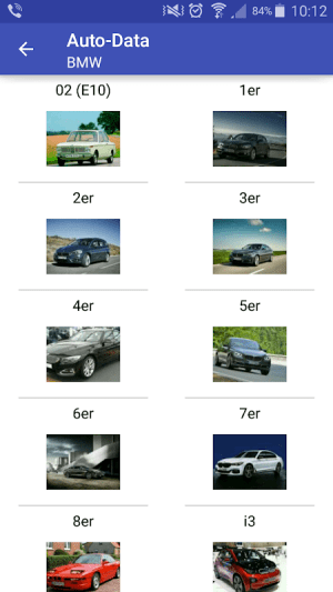 Mobile app of the website for car technical specifications www.auto-data.net. 3.3.2c Screen 1
