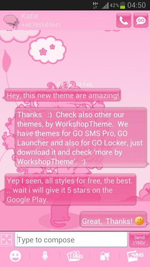 Android Cat Pink Theme GO SMS Pro Screen 1