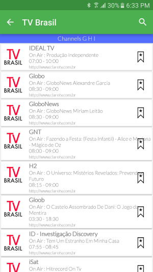 Android Brazil Live TV Guide Screen 2