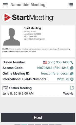 Start Meeting 3.1.4.0 Screen 1