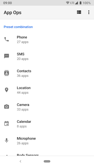 Android App Ops - Permission manager Screen 2