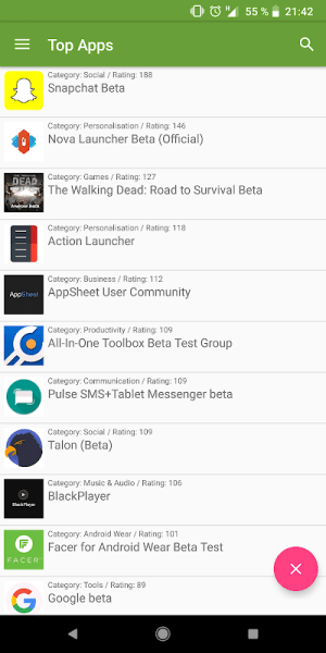 Android Beta TestingCatalog Screen 1