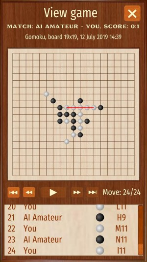Android Gomoku Renju free puzzle five in a row tic tac toe Screen 3