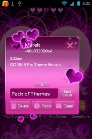 Android Theme Hearts for GO SMS Pro Screen 2