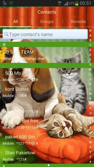 Android GO SMS Pro Theme Dog Cats Screen 2