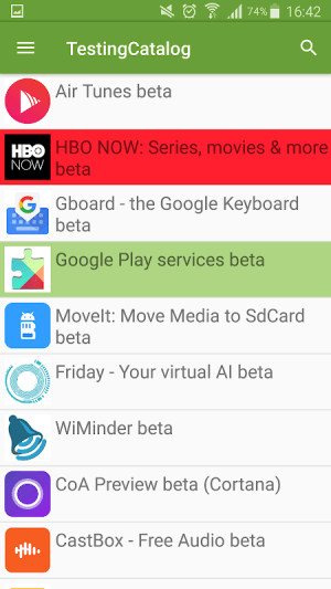 Beta TestingCatalog 3.45 Screen 1