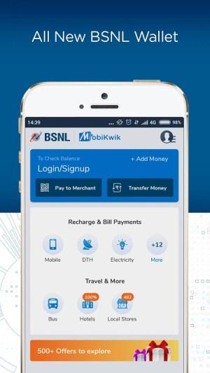 BSNL Wallet - Recharges, Bill Payments, Shopping 1.1 Screen 1